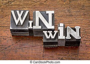 win-win, stratégia, alatt, fém, gépel