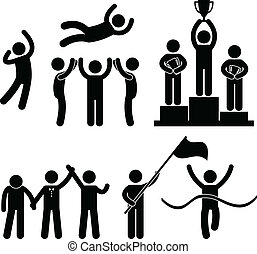 A set of pictogram about success, winning, and defeat.