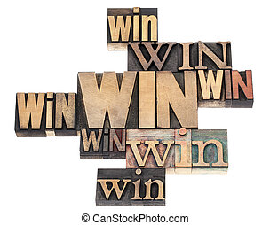 win word abstract - isolated text in a variety of vintage letterpress wood type printing blocks