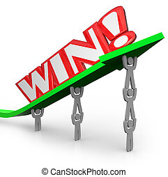 Win Word on Arrow Teamwork Lifting for Success