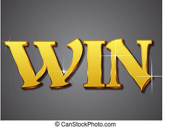 Win Writing in Gold Emboss Letter - EPS 10