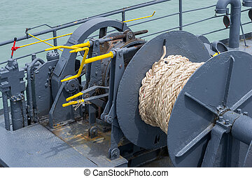 Winch and rope on ferry boat