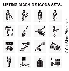 winch icon - Lifting machine icons sets.