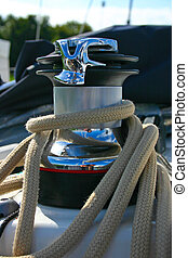 Winch on sailing boat