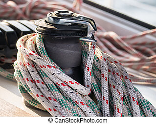 Winch with rope on sailboat