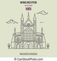 Winchester Cathedral, UK. Landmark icon in linear style