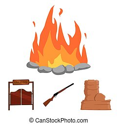 Winchester, saloon, rock, fire.Wild west set collection icons in cartoon style vector symbol stock illustration web.