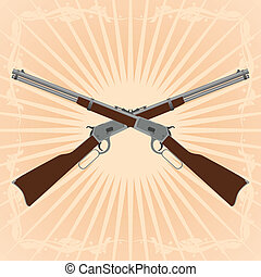 Winchesters - Two old rifle on an abstract background....