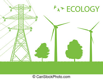 Wind alternative energy generator green vector background and high voltage line for poster