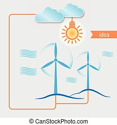 Wind alternative energy generator vector background and Light bulb