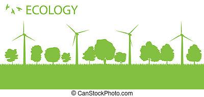 Wind alternative energy generator vector background