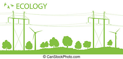 Wind alternative energy generator vector background with...