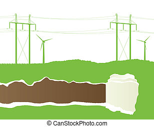 Wind alternative energy generator vector background with high vo