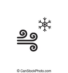 Wind and snow. Icon. Cold weather glyph vector illustration