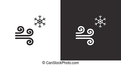 Wind and snow. Isolated icon on black and white background. Weather vector illustration