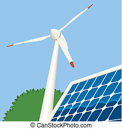 Wind and Solar Energy - Illustration of a wind turbine and a...