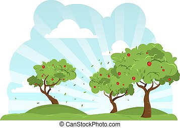 wind, blazen, appelbomen