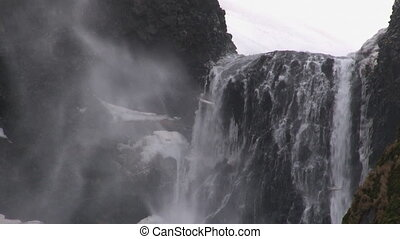 Wind blowing over waterfall