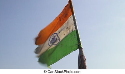 Wind blowing through the flag of India - The wind rustles...