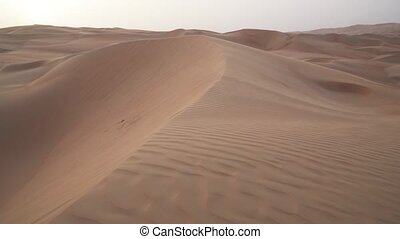 Wind chases the sand over beautiful dunes in the Rub al Khali desert before sunset United Arab Emirates stock footage video