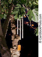 Wind chimes at night