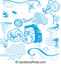 Clip art of wind themed symbols, icons and illustrations