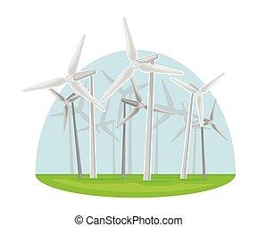 wind-driven, energía, recurso, generador, producción, natural, mecánico, vector, ilustración