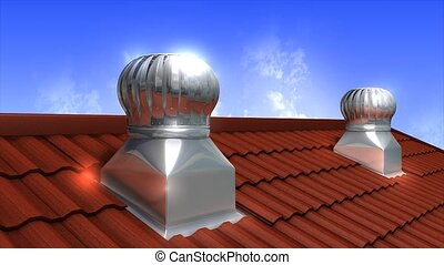Wind driven ventilation turbine - Rooftop wind-driven...