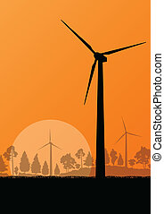 Wind electricity generators and windmills in countryside ...