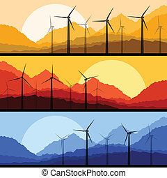Wind electricity generators and windmills in mountain vector...