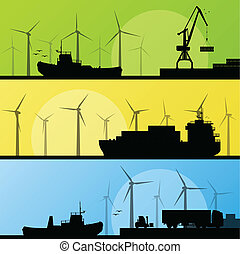 Wind electricity generators and windmills lin ocean and sea harbor for poster