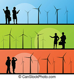 Wind electricity generators and windmills with men and women engineers in landscape ecology illustration background vector