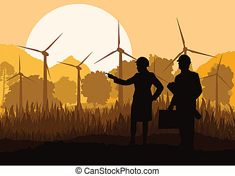 Wind electricity generators and windmills with men and women...