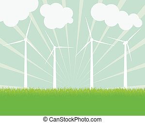 Wind electricity generators vector background