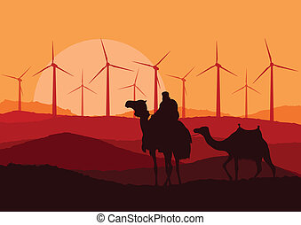 Wind electricity generators, windmills and camel caravan in...