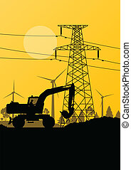 Wind electricity generators with construction worker excavator and electricity line in countryside field landscape ecology illustration background vector