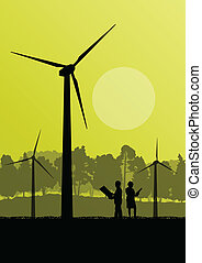 Wind electricity generators with electricity engineers in countryside field construction site landscape illustration background vector