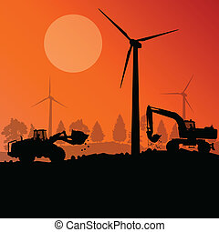 Wind electricity generators with excavator loaders in...