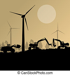 Wind electricity generators with excavator loaders in countryside field construction site landscape illustration background vector