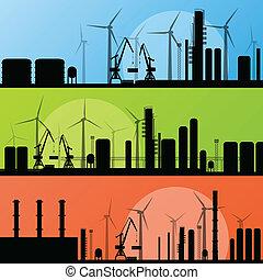wind, elektriciteit, generators, en, windmolen, lin, oceaan...