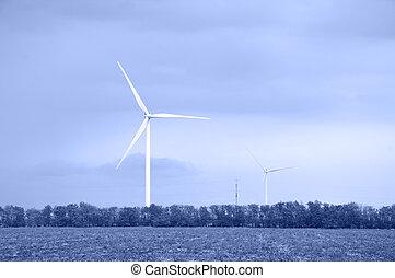 Wind energie. - Alternative energy wind turbines. Toned.