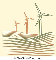 wind energie - field with Wind turbines generating...