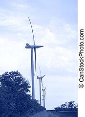 Wind energie. Toned. - Alternative energy wind turbines.