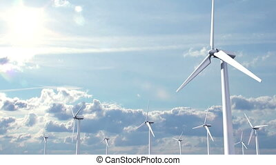 Wind Energy, 3d animation on time-lapse sky background