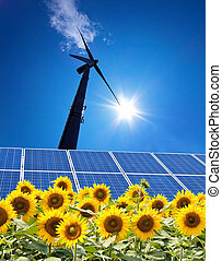 Wind energy - Alternative energy through wind power with blue Hmmel