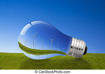 Wind Energy and Light Bulb Concept