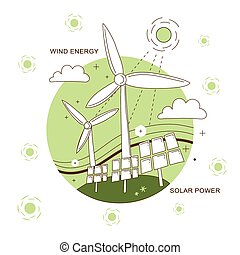 wind energy and solar power concept in thin line style