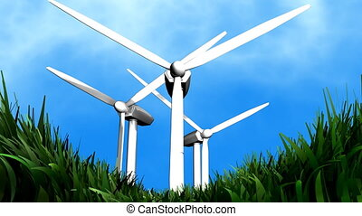 """Wind energy background animation, electricity, energy."""