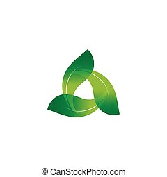 Wind energy day. Green abstract logo. Leaf logo.