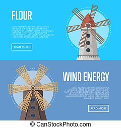 Wind energy flyers with old windmill buildings